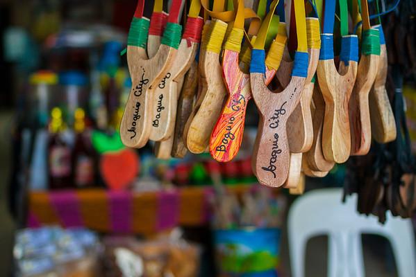 Colorful handmade crafts in La Trinidad