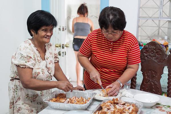 Gracing & Ida prepping a Filipino version of Chicken Cordon Bleu