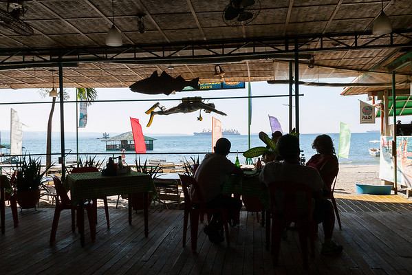 Enjoying the view from Johan's, along Baloy Long Beach Road