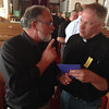 LCC President Tim Hetzner presenting gift cards and money to Rev Terry Makelin of Pilger