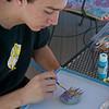 Painting the hypertufa hedgehog