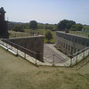 Up on rampart   looking toward Parade Ground  at Fort Warren  where the baseball players are warning up