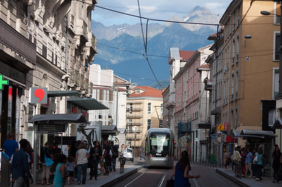 Tram and mountains, Grenoble
