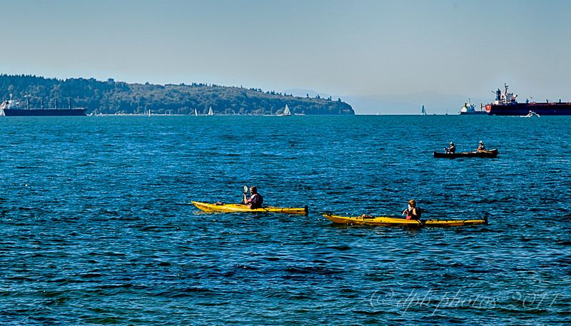 Kayakers off Second Beach