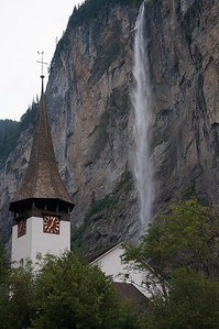 Staubbachfall waterfall and church, Lauterbrunnen