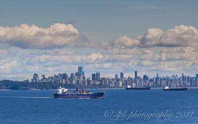 Container ship leaving Burrard Inlet