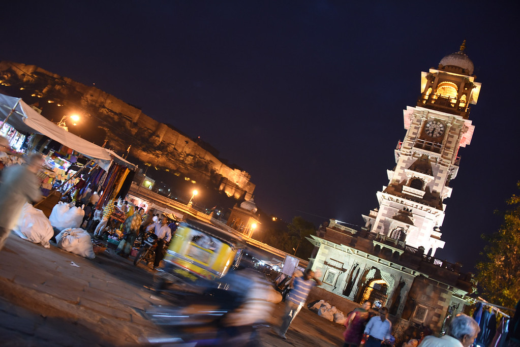 The clock tower market continued to buzz - even at night