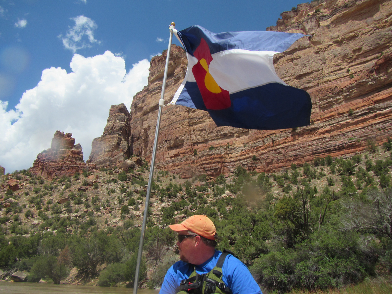 Matt with our latest flag addition - love the Colorado colors