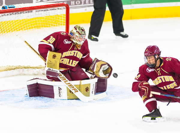 Pictured:  BC:  #30, Thatcher Demko, SO, G, 6-4, 195, San Diego, CA; #2, Scott Savage, SO, D, 6-1, 186, San Clemente, CA