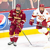 Pictured:  BC:  #5, Michael Matheson, JR, D, 6-2, 194, Pointe-Claire, QUE;  DU:  #20, Danton Heinen, F, 6-0, 161, FR, Langley, BC