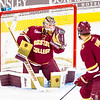 Pictured:  BC:  #30, Thatcher Demko, SO, G, 6-4, 195, San Diego, CA; #7, Noah Hanifin, FR, D, 6-3, 205, Norwood, MA
