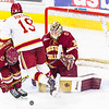 Pictured:  BC:  #30, Thatcher Demko, SO, G, 6-4, 195, San Diego, CA; #5, Michael Matheson, JR, D, 6-2, 194, Pointe-Claire, QUE;  DU:  #19, Daniel Doremus, F, 6-0, 200, SR, Aspen, CO