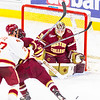 Pictured:  BC:  #30, Thatcher Demko, SO, G, 6-4, 195, San Diego, CA;  DU:  #27, Quentin Shore, F, 6-1, 185, JR, Denver, CO