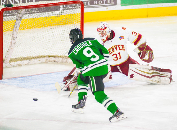 Pictured:  DU:  #31, Evan Cowley, G, 6-4, 185, SO, Evergreen, CO;  UND:  #9, Caggiula, Drake, F, 5-10, 180, JR, Whitby, ONT