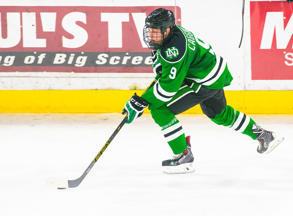 Pictured:  UND:  #9, Caggiula, Drake, F, 5-10, 180, JR, Whitby, ONT
