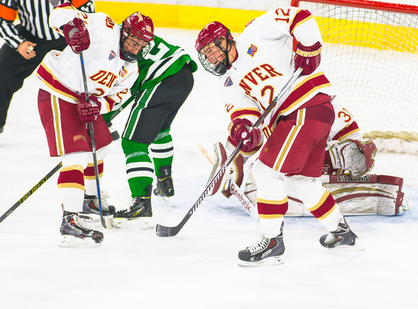 Pictured:  DU:  #12, Ty Loney, F, 6-4, 208, SR, Pittsburgh, PA; #21, Joey LaLeggia, D, 5-10, 185, SR, Burnaby, BC; #31, Evan Cowley, G, 6-4, 185, SO, Evergreen, CO