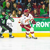Pictured:  UND:  #8, Schmaltz, Nick, F, 6-0, 171, FR, Verona, WI;  DU:  #7, Will Butcher, D, 5-10, 200, SO, Sun Prairie, WI