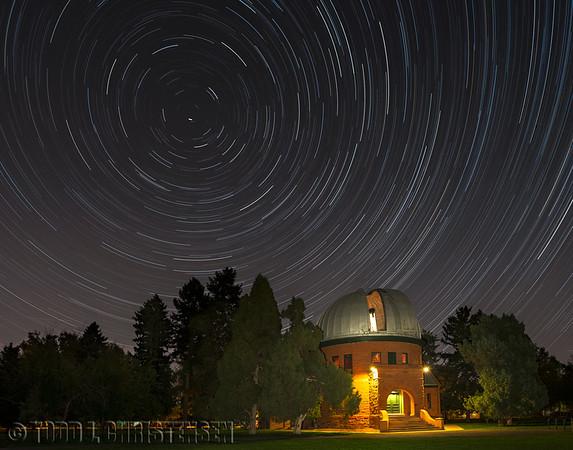 Star trails over University of Denver's Chamberlain Observatory