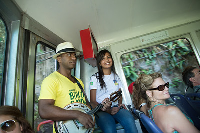 Entertainment on the train from Christ the Redeemer.  Rio de Janeiro, Brazil