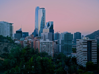 Dawn skyline. Santiago, Chile.