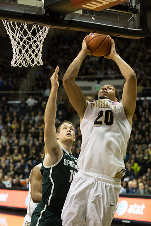 Purdue center A.J. Hammons with a put back against Michigan State