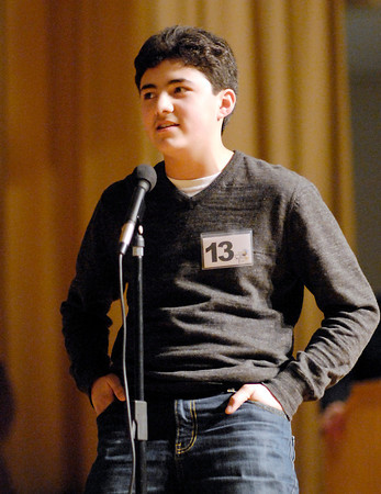 The Herald Bulletin Spelling Bee with contestant Rene Casas from Pendleton Heights Middle School, Pendleton.