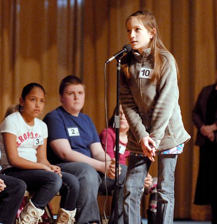 The Herald Bulletin Spelling Bee with contestant Karissa Hall from Frankton Elementary School, Frankton.