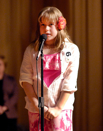 The Herald Bulletin Spelling Bee with contestant Gabrielle Sweet from Blue River Valley Elementary School, Mt. Summit.