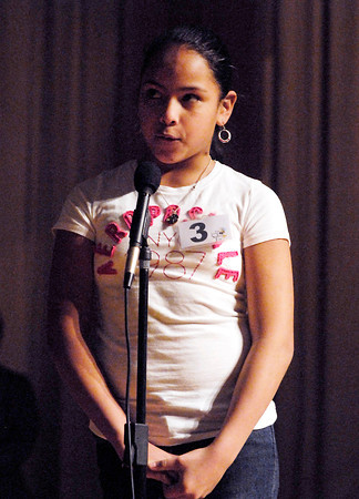 The Herald Bulletin Spelling Bee with contestant Estrella Hernandez from St, Mary Elementary School, Anderson.