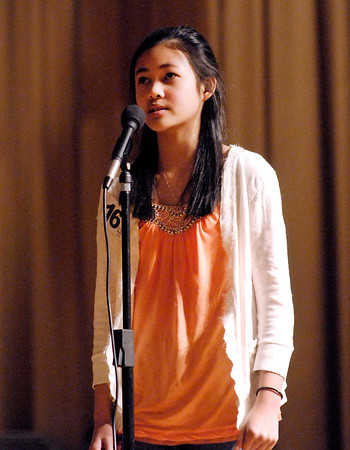 The Herald Bulletin Spelling Bee with contestant Sarah Cardenas from Mt. Vernon Middle School, Fortville.