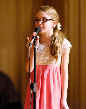 The Herald Bulletin Spelling Bee with contestant Riley Britt from Mt. Comfort Elementary School, Greenfield.