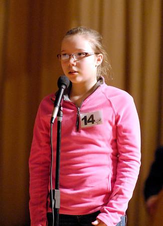 The Herald Bulletin Spelling Bee with contestant Lauren Richards from Lapel Elementary School, Lapel.