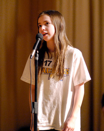 The Herald Bulletin Spelling Bee with contestant Rachel Soden from Anderson Christian Elementary School, Anderson.