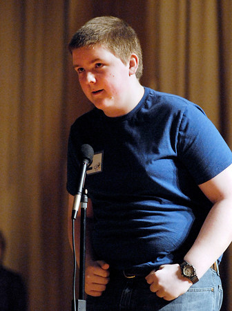 The Herald Bulletin Spelling Bee with contestant Jeffrey Krieg from St. Mary Middle School, Anderson.