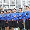 2014 NFL University Bowl VI - Day 2 - Guangzhou Sport University flag players line up on the field in preparation for the 2014 NFL University Bowl Championship game against Beijing Sports University.