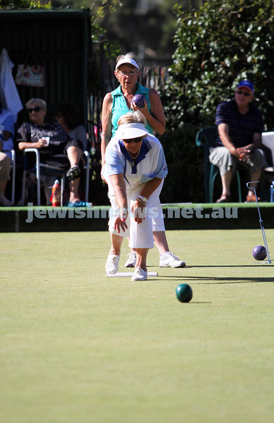 23-2-14. Victorian Jewish Lawn Bowls Championships. Caulfield Park Lawn Bowls Club. Rosemarie Todes watching on as Gabby Cohen bowls during the semi final. Photo: Peter Haskin