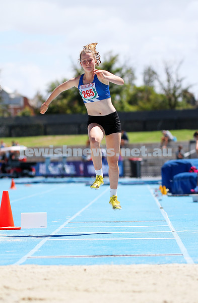 16-2-14. 2014 Victorian Junior Athletics Championships. Lakeside Stadium. Piper Montag on her way to winning the U 15 Women's Triple Jump. Photo: Peter Haskin