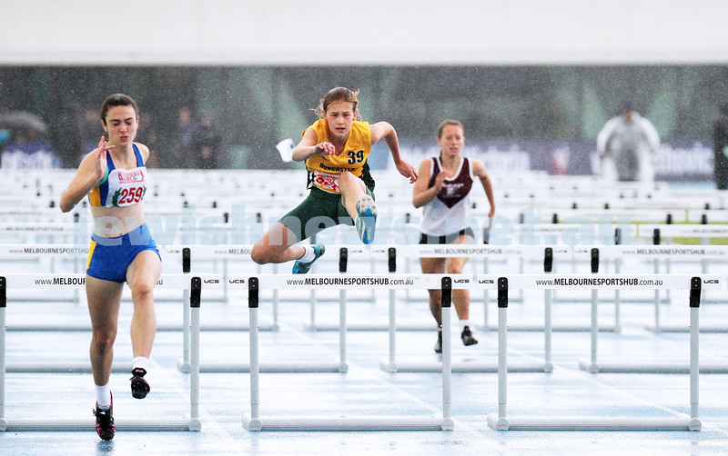16-2-14. Victorian Junior Athletics Championships. Lakeside Stadium. Women U 19 90m hurdles. Photo: Peter Haskin