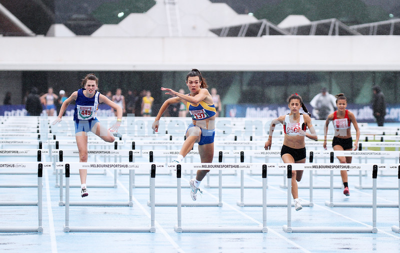 16-2-14. Victorian Junior Athletics Championships. Lakeside Stadium. Women U 18 100m hurdles. Photo: Peter Haskin