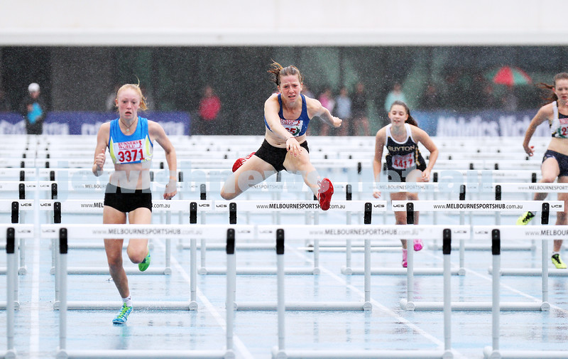 16-2-14. Victorian Junior Athletics Championships. Lakeside Stadium. Piper Montag. U 15 Womens 90m hurdles. Photo: Peter Haskin