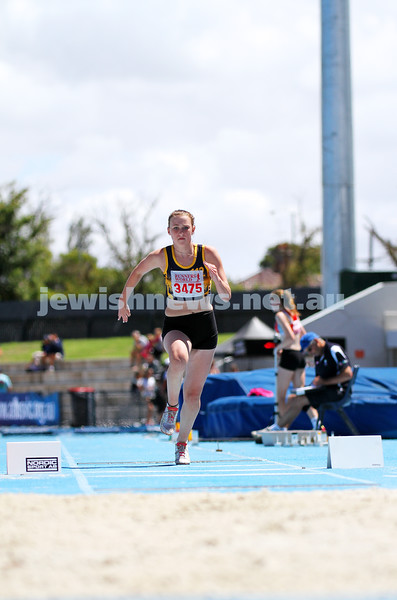 16-2-14. Victorian Junior Athletics Championships. Women U 15 Triple Jump. Lakeside Stadium. Photo: Peter Haskin