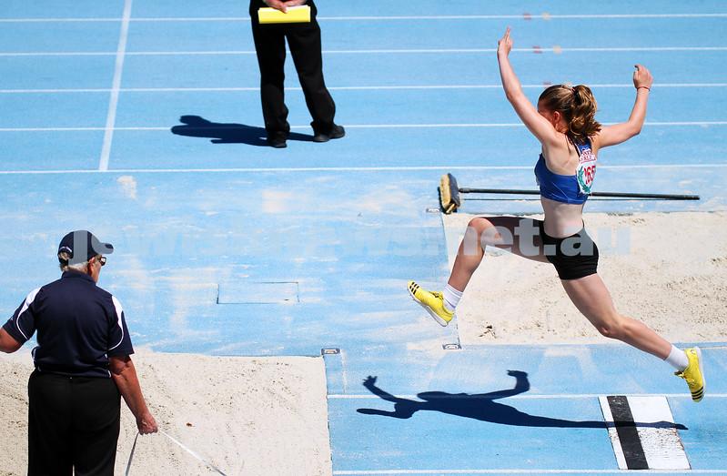 16-2-14. 2014 Victorian Junior Athletics Championships. Lakeside Stadium. Piper Montag on her way to winning the U 15 Women's Triple Jump. Photo: Peter Haskin
