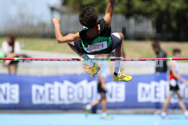 16-2-14. Victorian Junior Athletics Championships. High jump. Lakeside Stadium. Photo: Peter Haskin