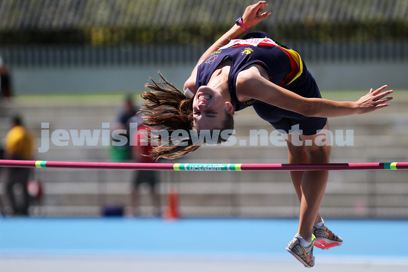 16-2-14. Victorian Junior Athletics Championships. Lakeside Stadium. Women's high jump. Photo: Peter Haskin