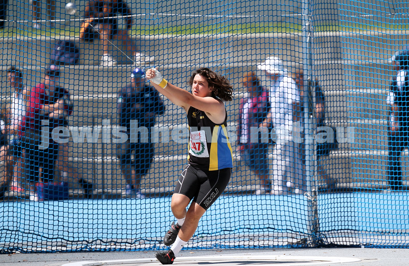 16-2-14. Victorian Junior Athletics Championships. Hammer throw. Lakeside Stadium. Photo: Peter Haskin