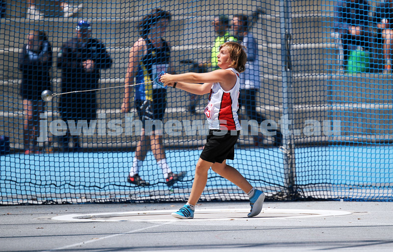 16-2-14. Victorian Junior Athletics Championships. Hammer throw. Lakeside Stadium. Photo: Peter Haskin