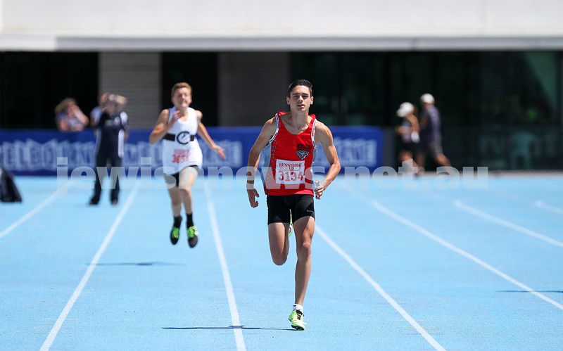 16-2-14. Victorian Junior Athletics Championships. Lakeside Stadium. Men U 16 200m. Photo: Peter Haskin
