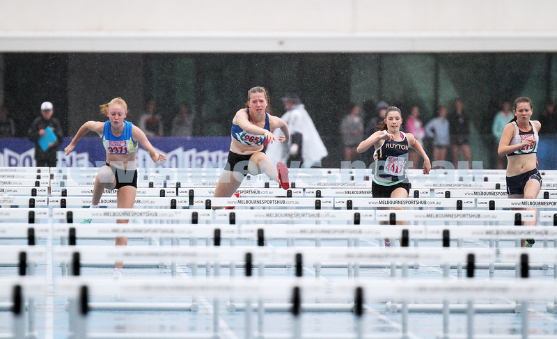 16-2-14. Victorian Junior Athletics Championships. Lakeside Stadium. Piper Montag. U 15 Womens 90m hurdles. Photo: Peter Haskin