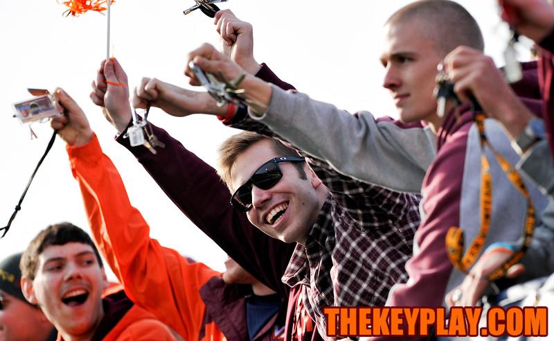 Virginia Tech Hokies fans wave their keys during a Key Play in the first half. (Michael Shroyer/TheKeyPlay.com)