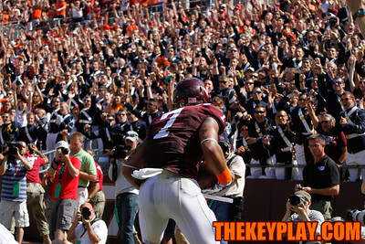 Bucky Hodges celebrates after catching a 2 point conversion in the second half to put the Hokies up 7.